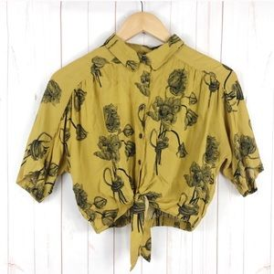 Urban Outfitters yellow floral button down blouse